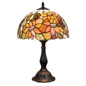 12inch European Pastoral Retro Style Table Lamp Butterfly Gathering Flower Pattern Shade Bedroom Living Room Dining Room Lights