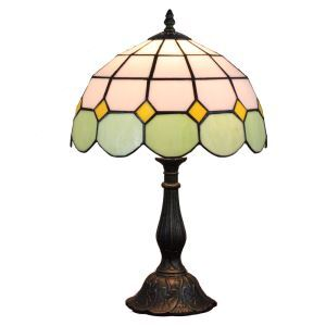 12inch European Pastoral Retro Style Table Lamp Mesh Pattern Shade Light Green Edge Bedroom Living Room Dining Room Lights