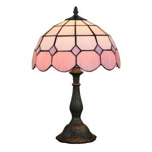 12inch European Pastoral Retro Style Table Lamp Mesh Pattern Shade Light Pink Edge Bedroom Living Room Dining Room Lights