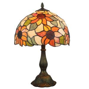 12inch European Pastoral Retro Style Table Lamp Sunflower Pattern Shade Bedroom Living Room Dining Room Lights
