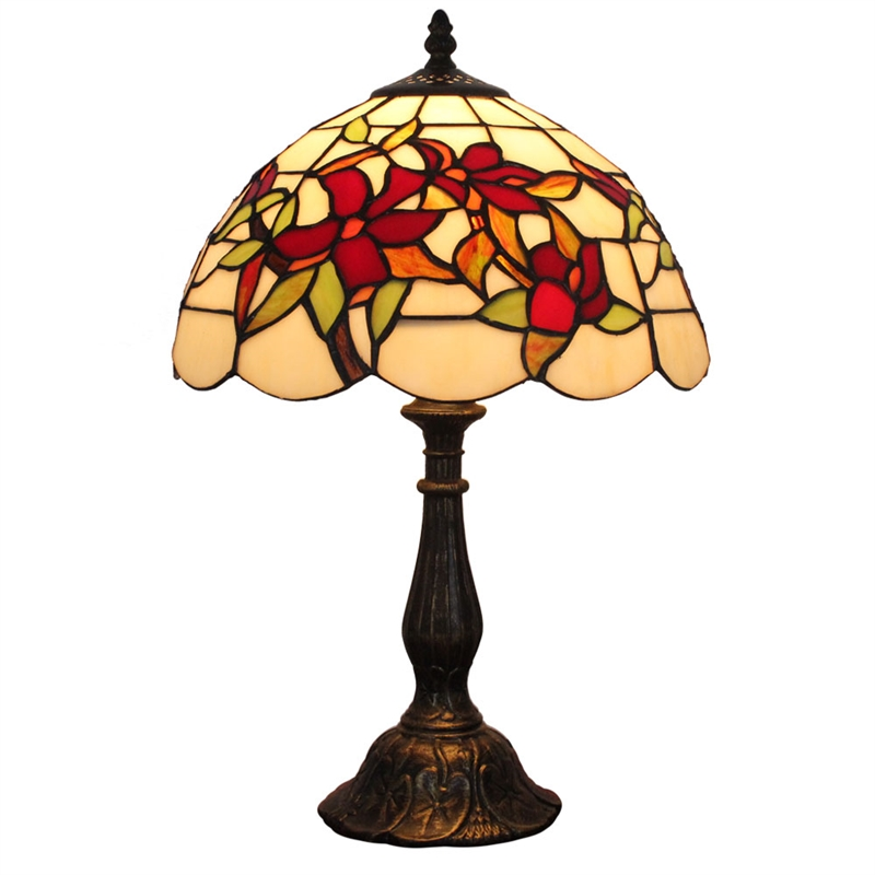 12inch european pastoral retro style table lamp red flower pattern shade bedroom living room. Black Bedroom Furniture Sets. Home Design Ideas