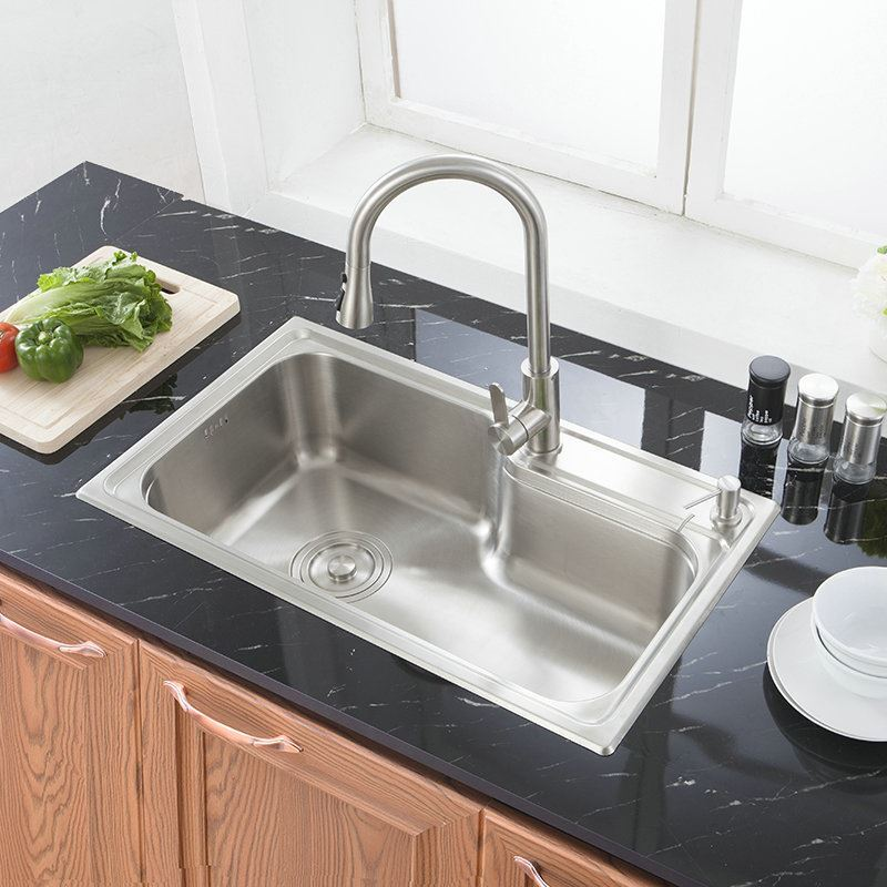 Modern Simple 304 Stainless Steel Sink Thicken Single Bowl