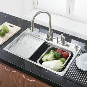 Modern Simple 304 Stainless Steel Sink Rectangle Single Bowl Kitchen Washing Sink with Drain Basket Drain Board and Liquid Soap Dispenser MF7848A