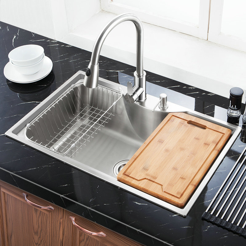 Modern Kitchen Sink Top Mount 304 Stainless Steel Single Bowl Kitchen Washing Sink Mf7848b
