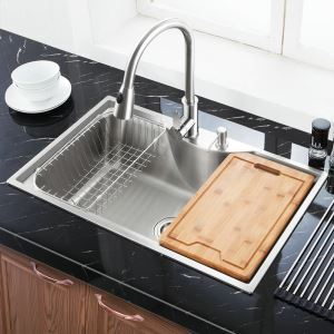 (In Stock)Modern Kitchen Sink Simple 304 Stainless Steel Sink Arc Design Single Bowl Kitchen Washing Sink with Drain Basket and Liquid Soap Dispenser MF7848B