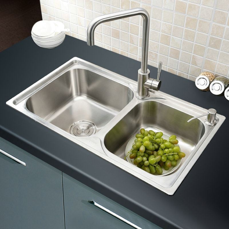 Modern Simple 304 Stainless Steel Sink Double Bowl Kitchen Washing Sink  With Drain Basket And Liquid ...