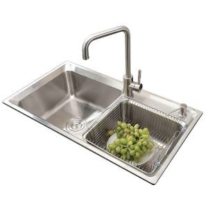 Modern Simple 304 Stainless Steel Sink Double Bowl Kitchen Washing Sink with Drain Basket and Liquid Soap Dispenser AOM7138M