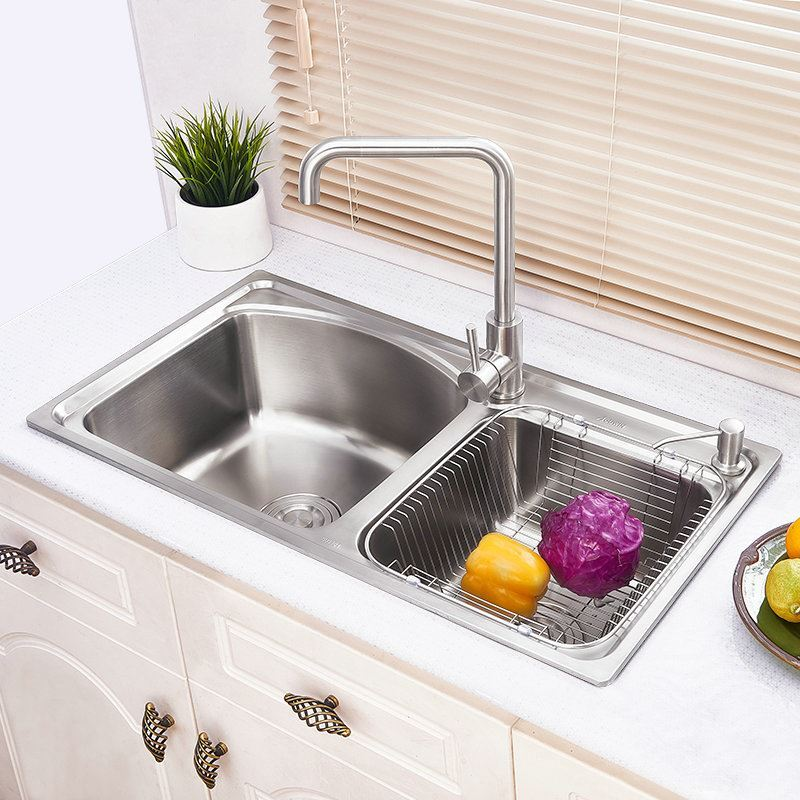 Modern Simple 304 Stainless Steel Sink Arc Design Large Double Bowl Kitchen  Washing Sink With Drain