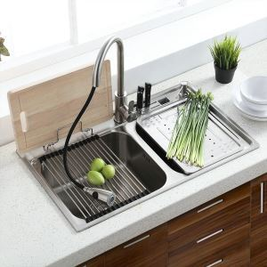 Over Mount Double Sink Modern 304 Stainless Steel Kitchen Washing Sink with Drain Board Drain MF8048