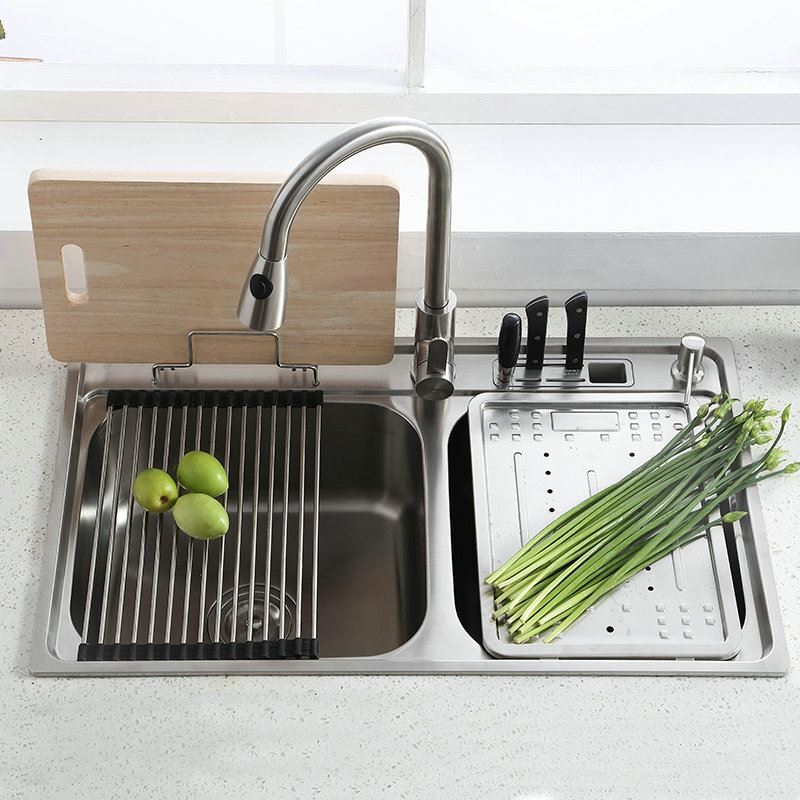 German Made Faucets >> Modern Simple 304 Stainless Steel Sink Double Bowl Kitchen Washing Sink with Drain Board Drain ...