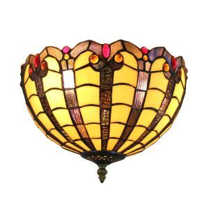 12inch European Pastoral Retro Style Flush Mounts Colorful Pattern Shade Bedroom Living Room Dining Room Lights