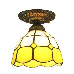 12inch European Pastoral Retro Style Flush Mounts Grid Yellow Edge Shade Bedroom Living Room Dining Room Lights