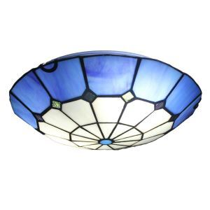 12inch European Pastoral Retro Style Flush Mounts Grid Blue Edge Shade Bedroom Living Room Dining Room Lights