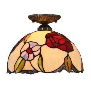 12inch European Pastoral Retro Style Flush Mounts Colorful Flower Pattern Shade Bedroom Living Room Dining Room Lights