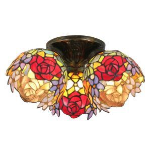 12inch European Pastoral Retro Style Flush Mounts Three lights Colorful Flower Pattern Shade Bedroom Living Room Dining Room Lights