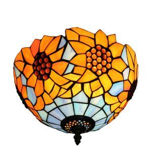 12inch European Pastoral Retro Style Flush Mounts Sunflower Pattern Shade Bedroom Living Room Dining Room Lights