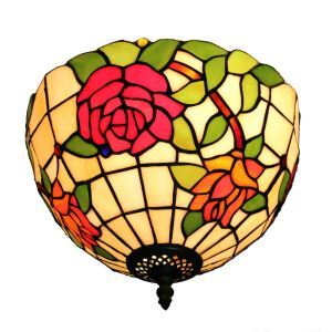 12inch European Pastoral Retro Style Flush Mounts Colorful Rose Pattern Shade Bedroom Living Room Dining Room Lights