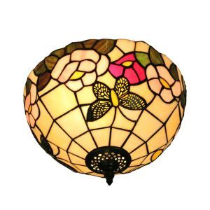 12inch European Pastoral Retro Style Flush Mounts Butterfly Flower Pattern Shade Bedroom Living Room Dining Room Lights