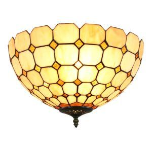 12inch European Pastoral Retro Style Flush Mounts Mesh Pattern Shade Bedroom Living Room Dining Room Lights