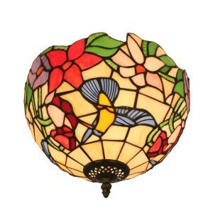12inch European Pastoral Retro Style Flush Mounts Hummingbirds Gathering Pattern Shade Bedroom Living Room Dining Room Lights
