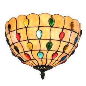 12inch European Pastoral Retro Style Flush Mounts Colorful Gems Pattern Shade Bedroom Living Room Dining Room Lights