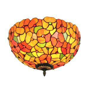 12inch European Pastoral Retro Style Flush Mounts Colorful Little Flower Pattern Shade Bedroom Living Room Dining Room Lights