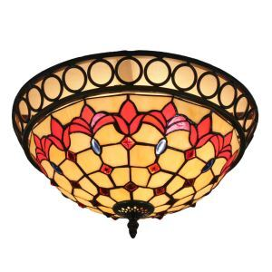 12inch European Pastoral Retro Style Flush Mounts Little Red Flower Pattern Shade Bedroom Living Room Dining Room Lights