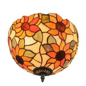 12inch European Pastoral Retro Style Flush Mounts Sunflower Pattern Shade Bedroom Living Room Dining Room Lights