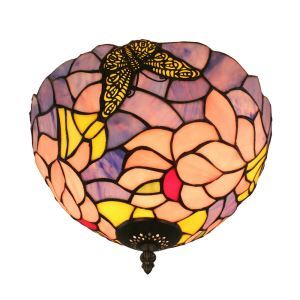 12inch European Pastoral Retro Style Flush Mounts Butterfly Gathering Flower Pattern Shade Bedroom Living Room Dining Room Lights