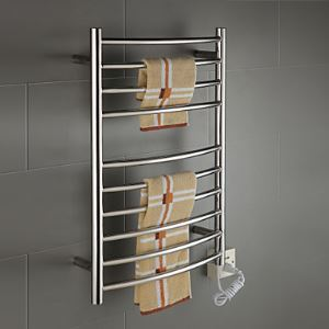 85W Stainless Steel Wall Mount Circular Tube Towel warmer Drying Rack