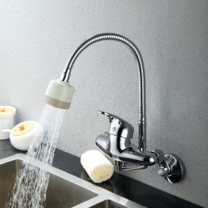 (In Stock)Chrome Finish Brass Kitchen Faucet with Flexible Spout (Wall Mount)