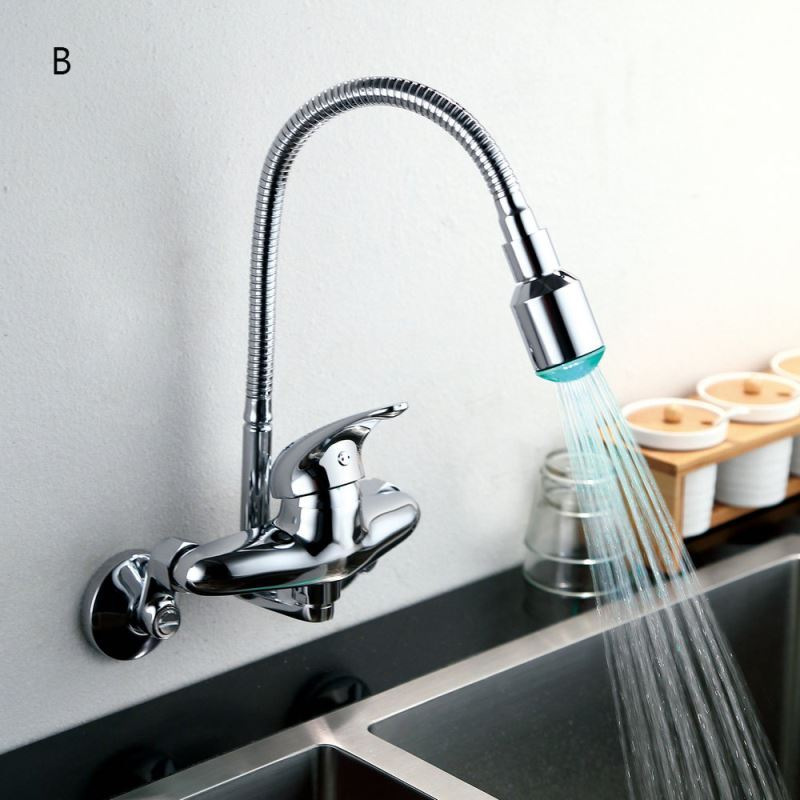 In Stock)LED Kitchen Faucet Flexible Chrome Finish Single Handle ...