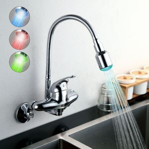 (In Stock) Flexible Chrome Finish Single Handle Color Changing LED Wall Mount Kitchen Faucet