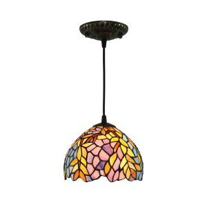 8inch European Pastoral Retro Style Pendant Light Colorful Leaf Pattern Glass Shade Bedroom Living Room Kitchen Light