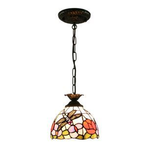 8inch European Pastoral Retro Style Pendant Light Dragonfly Gathering Flowers Pattern Glass Shade Bedroom Living Room Kitchen Light