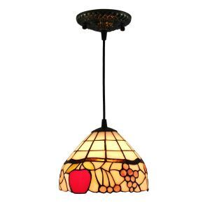8inch European Pastoral Retro Style Pendant Light Fruit Pattern Glass Shade Bedroom Living Room Kitchen Light