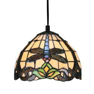 8inch European Pastoral Retro Style Pendant Light Dragonfly Pattern Glass Shade Bedroom Living Room Kitchen Light