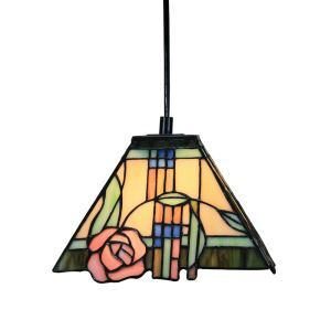 8inch European Pastoral Retro Style Pendant Light Pink Rose Pattern Glass Shade Bedroom Living Room Kitchen Light