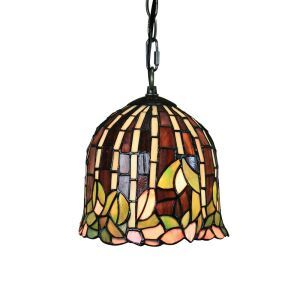 8inch European Pastoral Retro Style Pendant Light Leaf Pattern Glass Shade Bedroom Living Room Kitchen Light