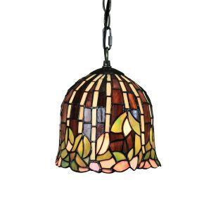 8inch European Pastoral Retro Style Pendant Light Leaf Pattern Glass Shade Bedroom Living Room Kitchen Light