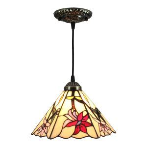 8inch European Pastoral Retro Style Pendant Light Hummingbirds Gathering Flowers Pattern Glass Shade Bedroom Living Room Kitchen Light