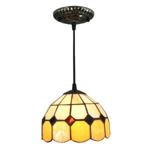 8inch European Pastoral Retro Style Pendant Light Grid Pattern Glass Shade Orange Edge Bedroom Living Room Kitchen Light