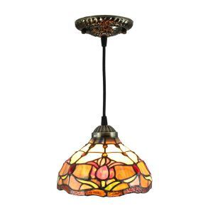 8inch European Pastoral Retro Style Pendant Light Colorful Flowers Pattern Glass Shade Bedroom Living Room Kitchen Light