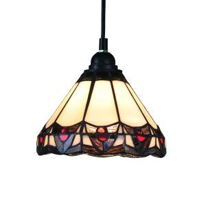 8inch European Pastoral Retro Style Pendant Light Colorful Pattern Glass Shade Bedroom Living Room Kitchen Light