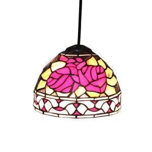 8inch European Pastoral Retro Style Pendant Light Red Flower Pattern Glass Shade Bedroom Living Room Kitchen Light