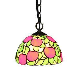 8inch European Pastoral Retro Style Pendant Light Red Apple Pattern Glass Shade Bedroom Living Room Kitchen Light