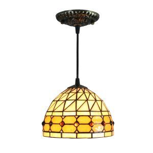 8inch European Pastoral Retro Style Pendant Light Colorful Glass Shade Bedroom Living Room Kitchen Light