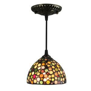 8inch European Pastoral Retro Style Pendant Light Gorgeous Stars Pattern Glass Shade Bedroom Living Room Kitchen Light