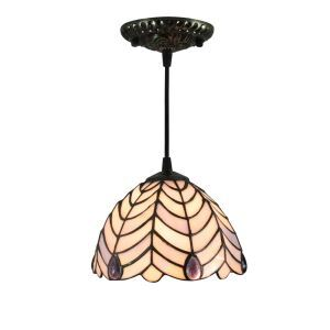 8inch European Pastoral Retro Style Pendant Light Leaf Shade Pattern Glass Shade Bedroom Living Room Kitchen Light