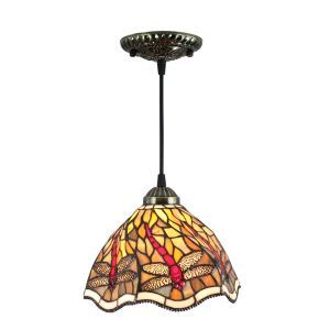 8inch European Pastoral Retro Style Pendant Light Red Dragonfly Pattern Glass Shade Bedroom Living Room Kitchen Light